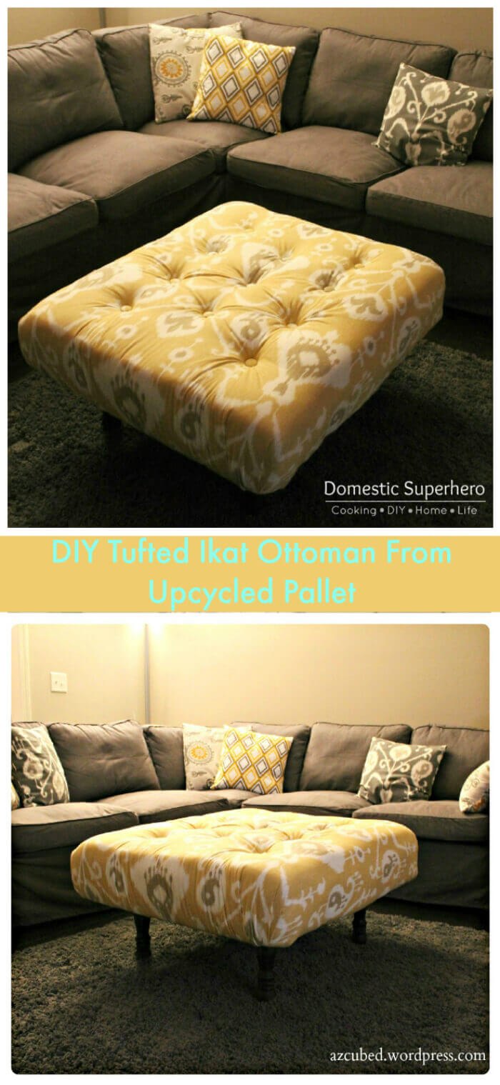 DIY Tufted Ottoman From Upcycled Pallet: