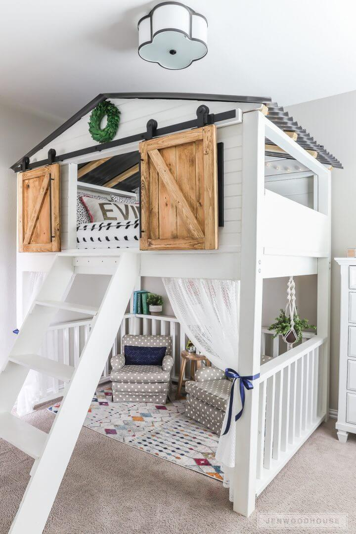 Build Sliding Barn Door Loft Bed: